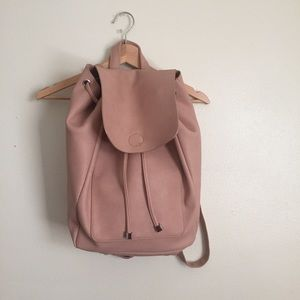 Dusty pink vegan leather backpack